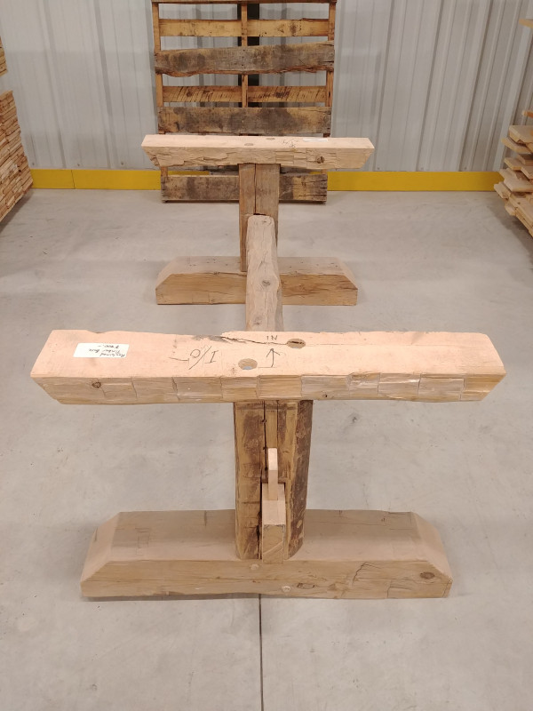 Table - Reclaimed Pine Hand-Hewn Timber Base