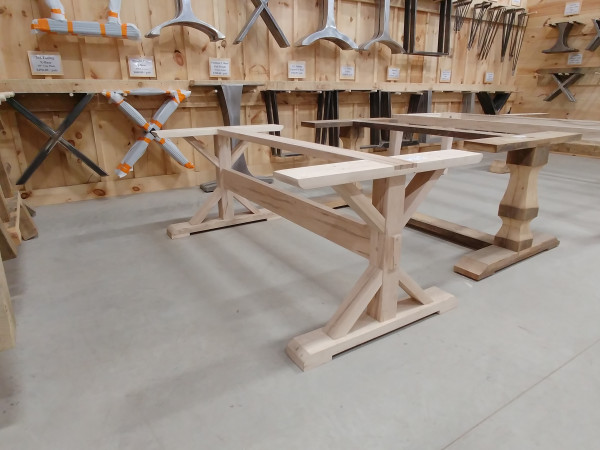 Table - Wormy Maple Trestle X-Table Base